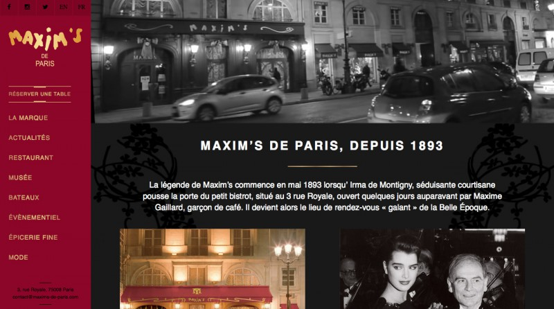 Maxim's de Paris Website copy